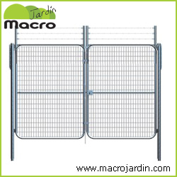 Puerta vehicular simple torsi�n con espinos 4X1,5m alto galvanizada
